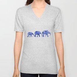 Blue elephants Unisex V-Neck