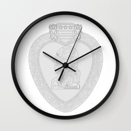 Purple Heart Medal Outline Wall Clock