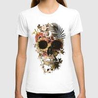 skull T-shirts featuring Garden Skull Light by Ali GULEC