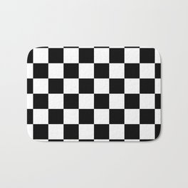 Checkered Pattern: Black & White Bath Mat