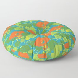Nasturtiums in blue Floor Pillow