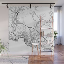 Genoa Map, Italy - Black and White Wall Mural