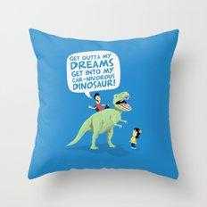 my car-nivorous dinosaur Throw Pillow