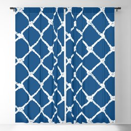 Nautical Rope in White on Classic Blue Design Blackout Curtain