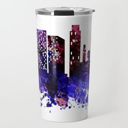 Colorful silhouette of the city Travel Mug