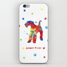 Airedale Terrier Watercolor Colorful Abstract iPhone Skin