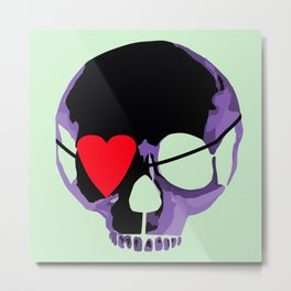 Purple skull with heart eyepatch Metal Print
