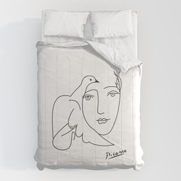 Woman and dove portrait abstract minimal contemporary inspired by picasso Comforters