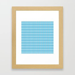 Oktoberfest Bavarian Blue and White Medium Diagonal Diamond Pattern Framed Art Print