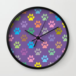 Colorful paws pattern Wall Clock