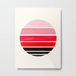 Red Mid Century Modern Minimalist Circle Round Photo Staggered Sunset Geometric Stripe Design Metal Print