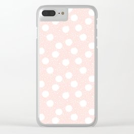 Snowfall White Polka Dots on Pink Clear iPhone Case