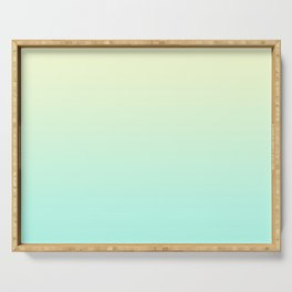 Pastel Mint Green Blue Teal Yellow Ombre Gradient Pattern Soft Spring Summer Texture Serving Tray