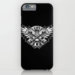 Crossed Pistons and Wings with Stars and Stripes Logo for the Car and Motorcycle Enthusiast iPhone Case