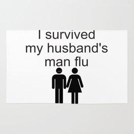 I survived my husband's man flu Rug