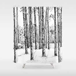 A fox in pine forest Shower Curtain