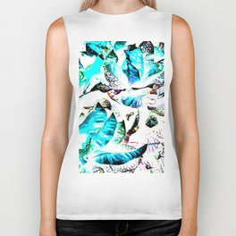 451 - Abstract leaves design Biker Tank