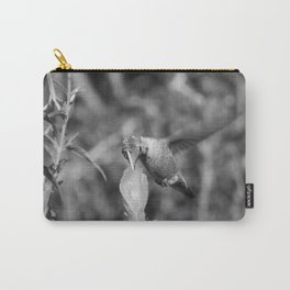 Hummingbird and the Flower- Black and White Carry-All Pouch