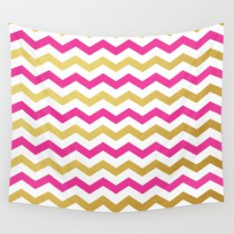 Pink and Gold Chevron Pattern Wall Tapestry