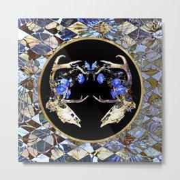 Diamond Pattern Deer Skull and Morning Glory Round Metal Print