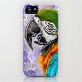 purple parrot splat iPhone Case