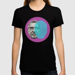 Gabriel Garcia Marquez - purple blue portrait T-shirt