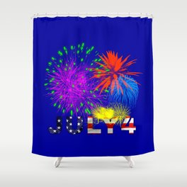 America 4th of July Fireworks Shower Curtain