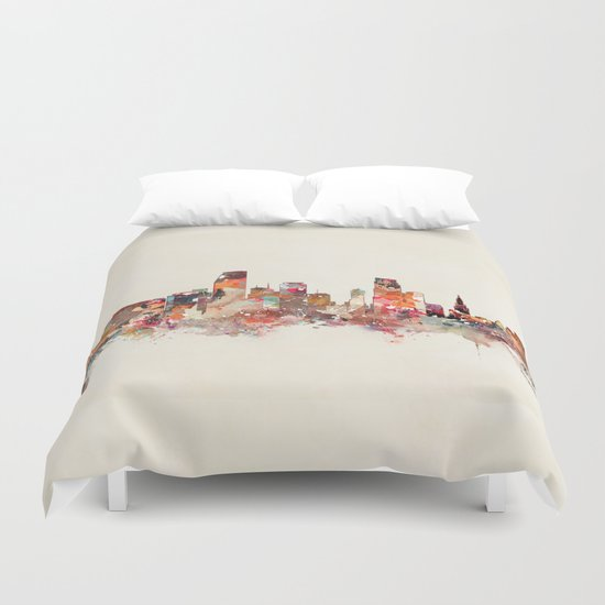 miami florida skyline Duvet Cover
