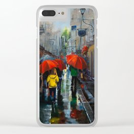 Red Umbrellas and Reflections Clear iPhone Case