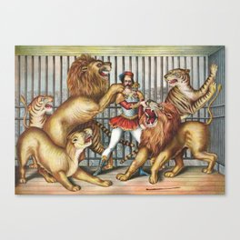 The Lion Tamer - Vintage Circus Art, 1873 Canvas Print