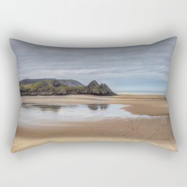 Reflections of Three Cliffs Bay Rectangular Pillow