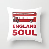 england Throw Pillows featuring England Soul by Tony Vazquez