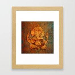Lord Ganesh On a Distress Stone Background Framed Art Print