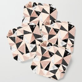 Modern black white marble rose gold glitter foil geometric abstract triangles pattern Coaster