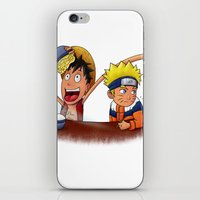 luffy iPhone & iPod Skins featuring Luffy And Naruto eating Ramen by mannynunez