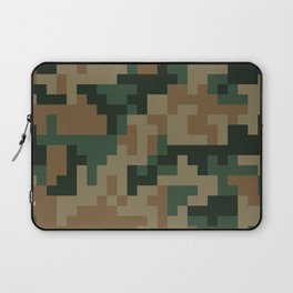 Green and Brown Pixel Camo pattern Laptop Sleeve