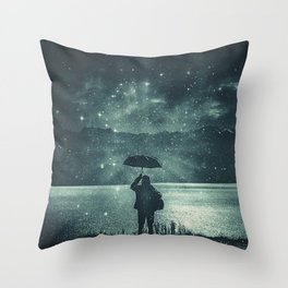 Sideral Rain     surreal, surrealism, digitalart, graphicdesign Throw Pillow