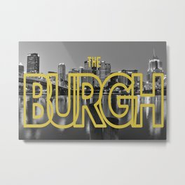 Pittsburgh Skyline Black White Metal Print