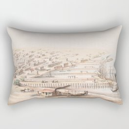 Vintage Pictorial Map of Galveston TX (1855) Rectangular Pillow
