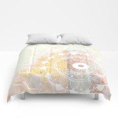 White mandala on pink Comforters