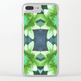 Teal Green Bromeliad Pattern Clear iPhone Case