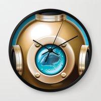 underwater Wall Clocks featuring Underwater by Texnotropio
