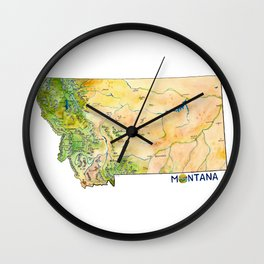 Montana Painted Map Wall Clock