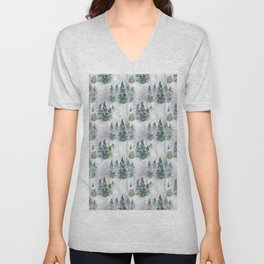 Watercolor forest green snow Christmas pine tree Unisex V-Neck