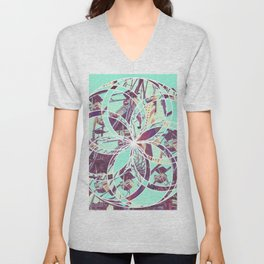 Los Angeles Ferris Wheel Abstract Mosaic Unisex V-Neck