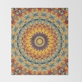 Flower Of Life Mandala (Sun-kissed) Throw Blanket