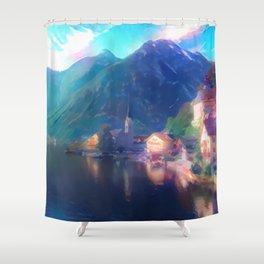 Playfully Bright Hallstatt Village Shower Curtain