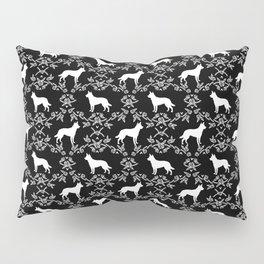Australian Kelpie dog pattern silhouette black and white florals minimal dog breed art gifts Pillow Sham
