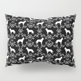 Australian Kelpie dog pattern silhouette black and white florals minimal dog breed art gifts Pillow Sham