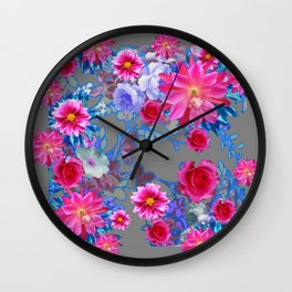 GREY FLORAL TAPESTRY OF ASSORTED PINK  FLOWERS Wall Clock